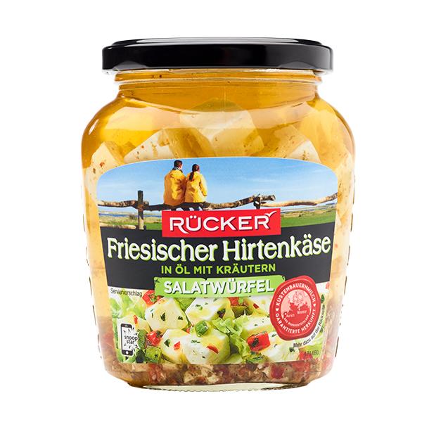 RÜCKER Friesischer Hirtenkäse Salatwürfel in Öl mit Kräutern